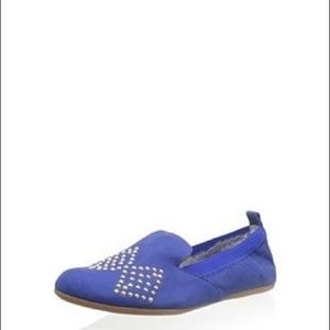 Yosi Samra Ariel Electric Blue Studded Loafer